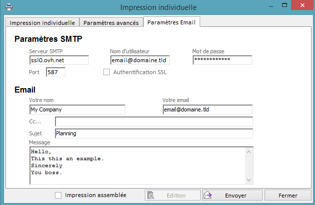 Paramétrage de l'envoi d'email