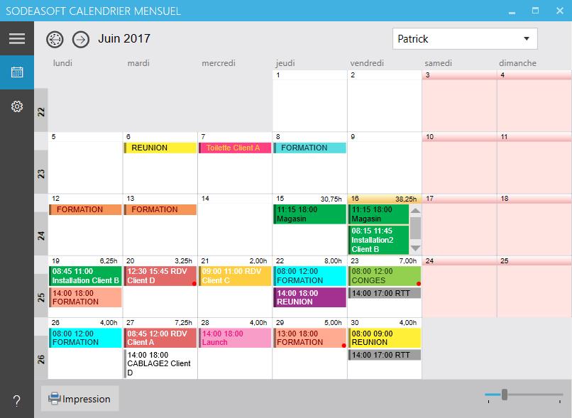 nouvelle interface de Calendrier Mensuel