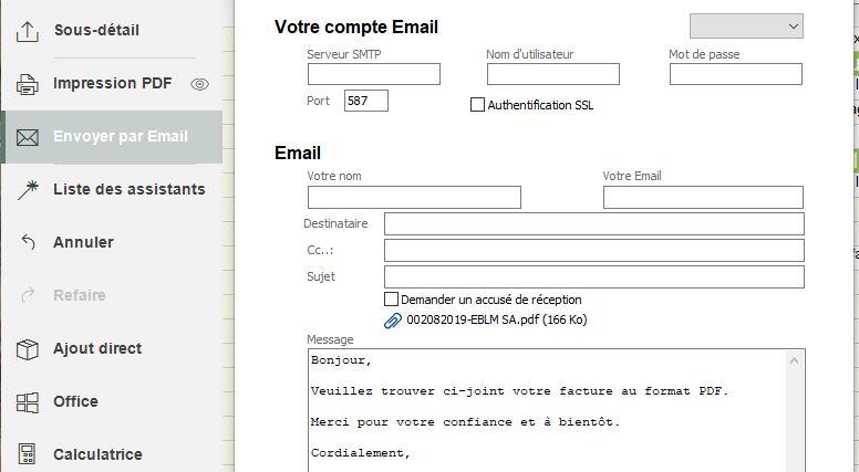envoi de la facture par email